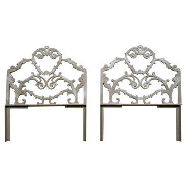 Check out this item at One Kings Lane! Louis XVI-Style Cast Iron Headboards, Pr
