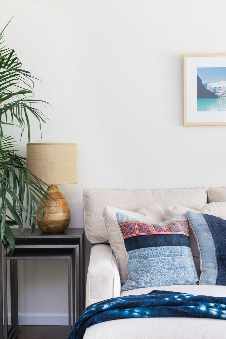 Neutral Couch with pops of blue | Shannon Tate Interiors