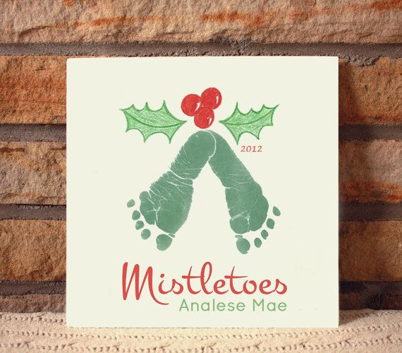 "Ceramic footprint ""mistletoes"" plaque. kids craft."