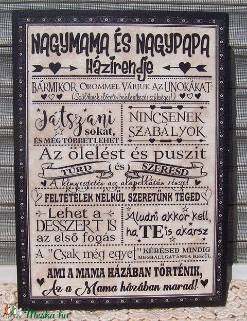 Nagymama és nagypapa házirendje szöveges falikép, táblakép (vintagedesign) - Meska.hu