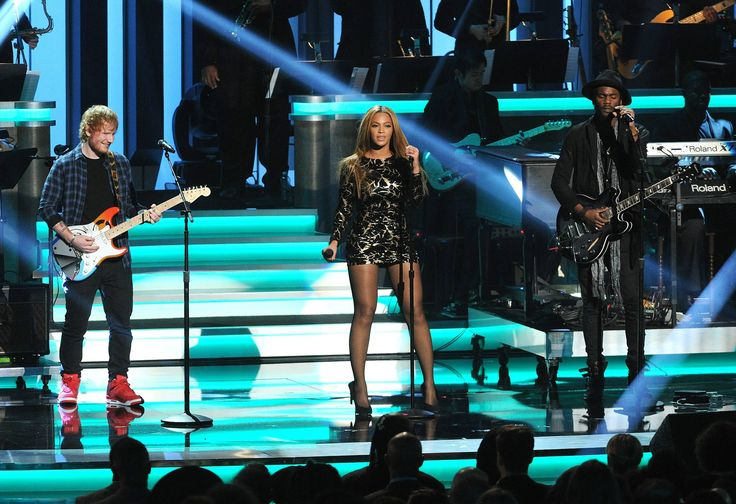 "Beyoncé, Ed Sheeran & Gary Clark Jr. perform a tribute to Stevie Wonder during the Grammy-Sponsered tribute, ""Songs in the Key of Life – An All-Star Salute."""
