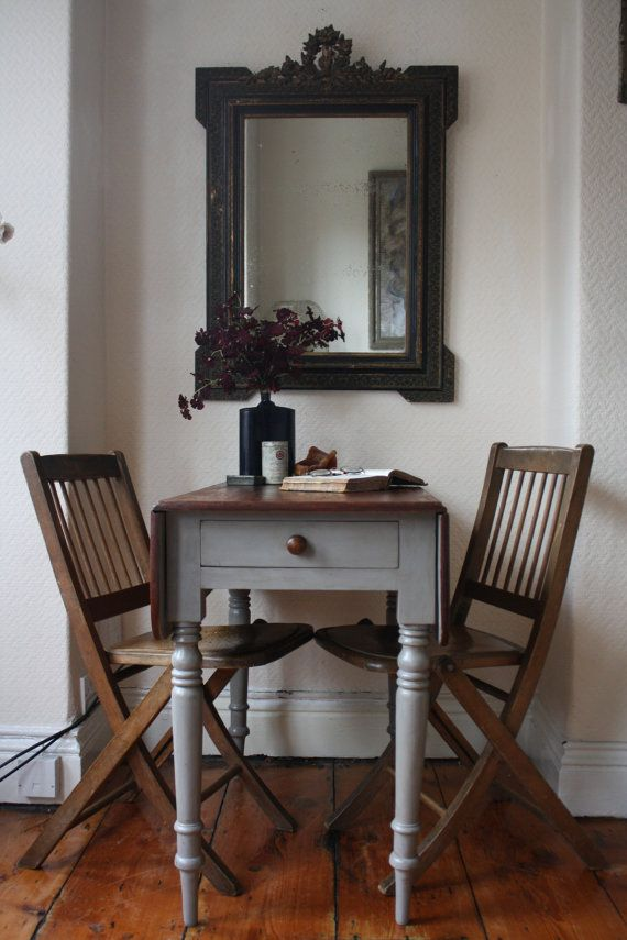 restored vintage drop leaf table with single by