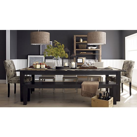 Basque Java Dining Table, Lenore Side Chair, Folio Leather Side Chair,  Weave Pendant Lamp I Crate And Barrel