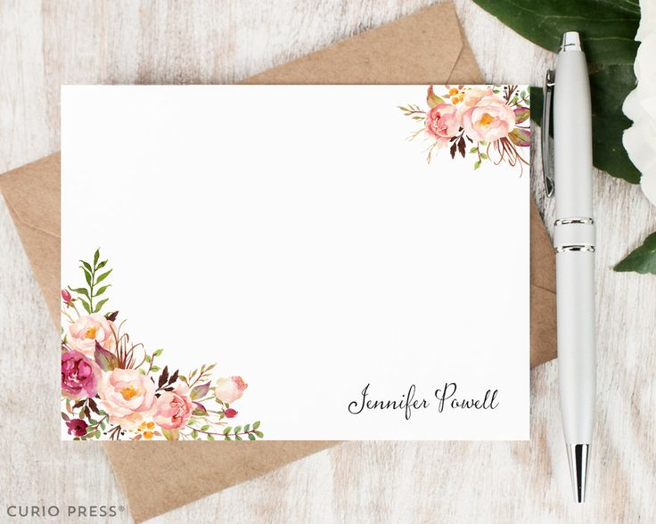 Personalized Notecard Set / Flat Personalized Stationery / Stationary Note Card Set / Tribal Watercolor Flower // PAINTED FLORALS I by CurioPress on Etsy https://www.etsy.com/listing/227240181/personalized-notecard-set-flat