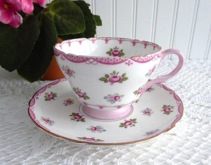 Pink Rosebuds Shelley Cup And Saucer Henley Shape 1950s Pink Bunting Trim  #ShelleyTeacups #Shelleypinkrosebuds #ValentinesTea #AntiquesAndTeacups #GotVintage #ECS