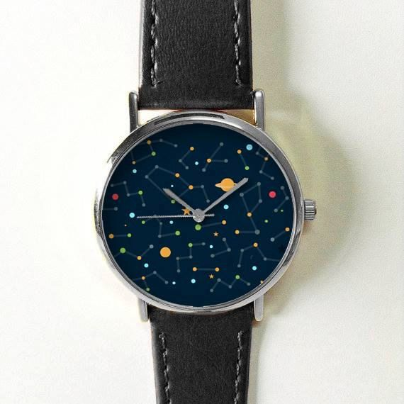 Galaxy Space Watch Constellation Planets Stars Watches for Men Women Leather Watch Ladies Vintage Style Jewelry Accessories Gifts Spring