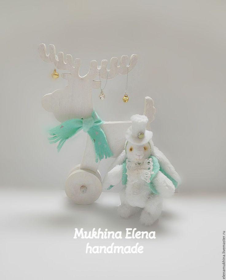 Купить Заяц зефирный с мятой - белый, кролик, кролик игрушка, кролик тедди, кролик из Алисы