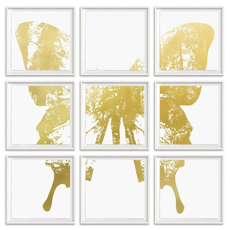 """Butterfly with Forest Wings - Grouping 1 Gold on White -  9 Frames 26"""" H x 26"""" W each Floated and Dry Mounted - Gold Leaf Foil on Fine Art Paper  White Wash - Wood Ash Frame #artsquaredinc #art #design #gold #goldleaf #artandnature #ButterflyForest #butterflyart"""