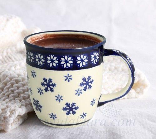 Classic ceramic mug Winter pattern boleslawiec