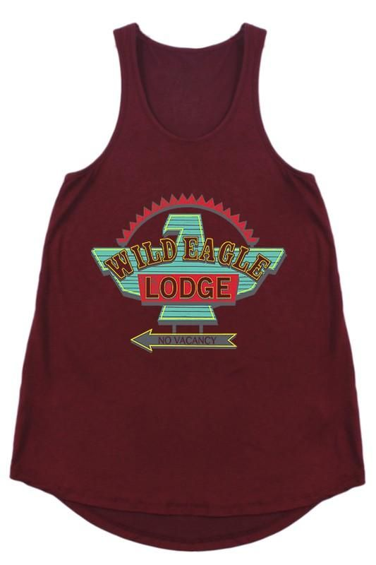 WILD EAGLE LODGE NO VACANCY Racer Back Tank Top