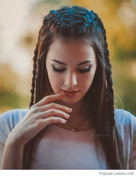 Chic braids and natural makeup