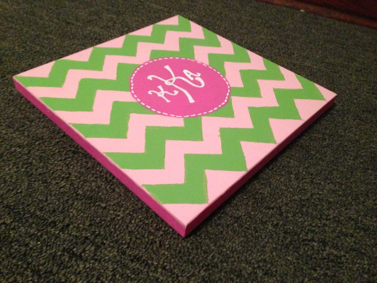 Chevron, monogrammed canvas painted by me.