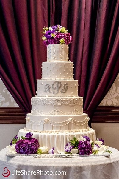 Large Wedding Cake with Violet Flowers - www.LifeSharePhoto.com: