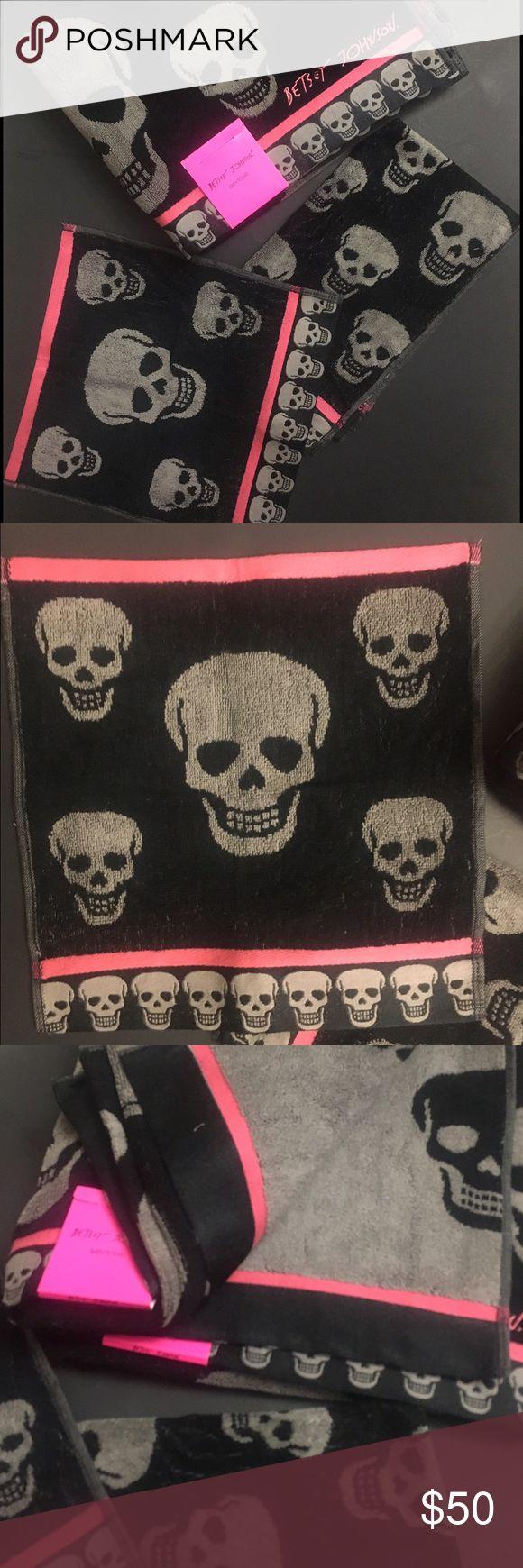 "Black Grey Pink Betsey Johnson Skull Bath Towel Grey and black skull with pink trim skeleton skull towel set includes:  2 bath towels (28x54"")  1 hand towel (16"" x 28"") 1washcloth(13x13"") Betsey Johnson Accessories"
