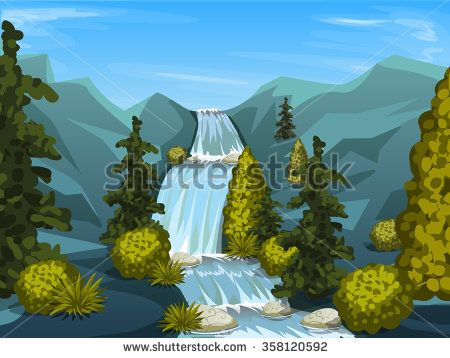 mountain river with waterfall. Nature background with trees . Vector illustration  #assets #game #vector #UI #cartoon #casual #awesome