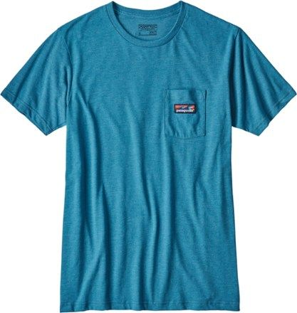 Patagonia Men's Board Short Label Cotton/Poly Pocket T-Shirt Filter Blue XXL