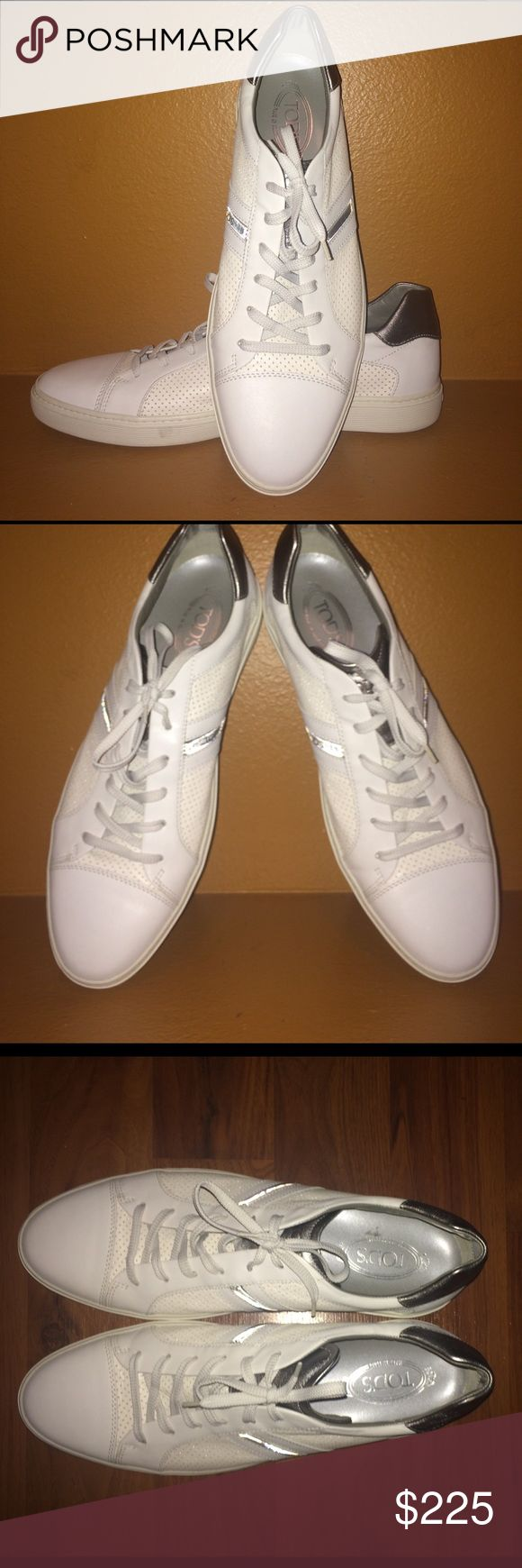 Mens casual sneaker, worn twice. White and grey TOD's sneaker. NO trades posh in app offers only. Tod's Shoes Sneakers