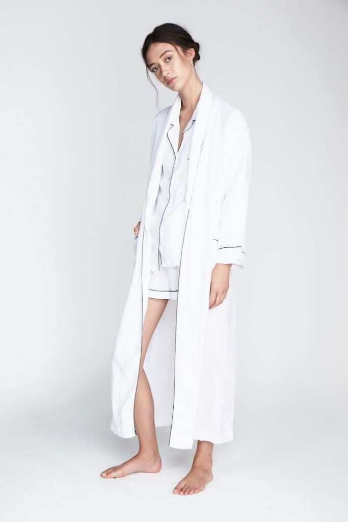The 'Valentine' Long Sleeve Shirt and Short set paired with the 'Valentine' Robe in Snow - Andrea & Joen French Linen Loungewear Collection shot by Sylve Colless