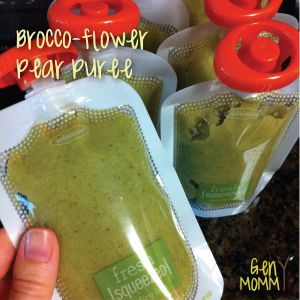 Homemade Brocco-flower Pear baby food. Unusual food combo that baby loves!