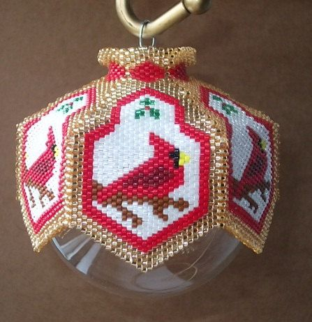 Cardinal Rules Beaded Ornament Cover EPattern by cathylikestocraft, $10.00