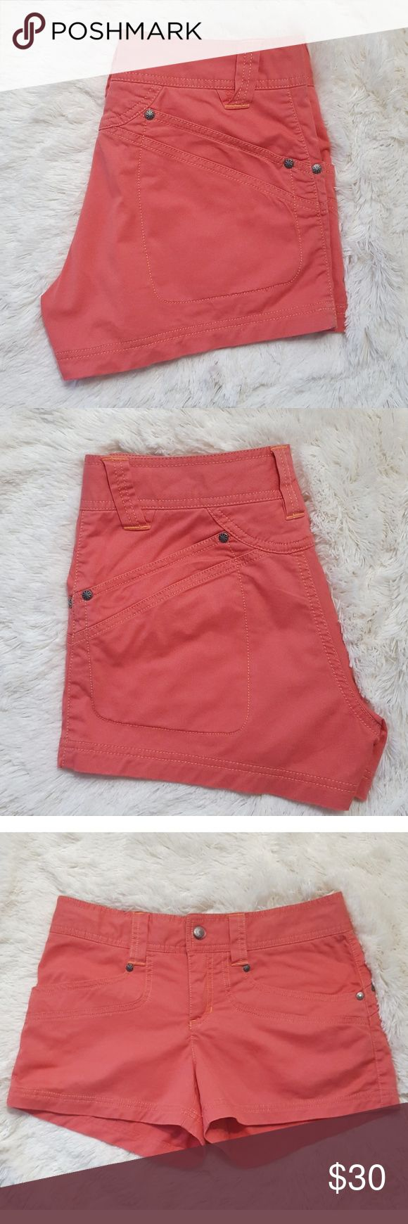 """Athleta Cotton Denim Mini Shorts These coral cotton shorts from Athleta are perfect for the summer. Throw them on with a cute top and sandals and you have a perfect summer casual look. Wear them to the beach or pool to cover up your bathing suit. Zip and snap closure with inside string. 3"""" inseam. Athleta Shorts"""