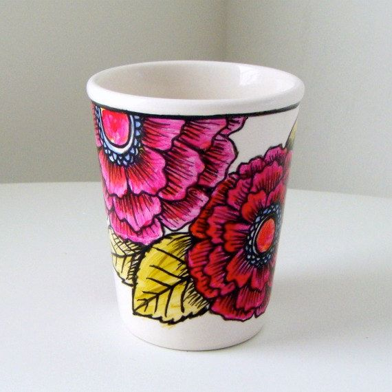 Ceramic Cup Hand Painted Fuschia Pink Flowers by sewZinski on Etsy, $30.00