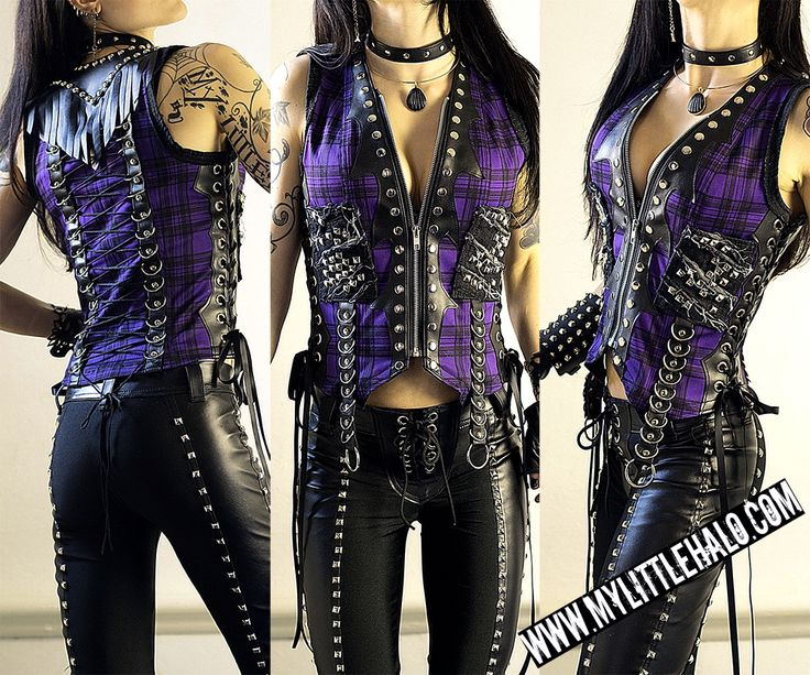 Purple Tartan Studded Metal Vest - My Little Halo http://mylittlehalo.com/