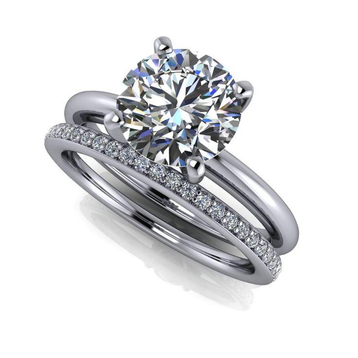 Bridal Set SUPERNOVA Colorless Moissanite Engagement Ring Eternity Band 1.77 CTW