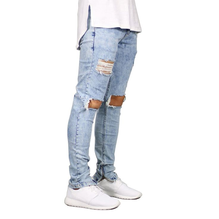 Men Jeans Stretch Destroyed Ripped Design. Fashion Ankle Zipper. Skinny Jeans For Men E5020