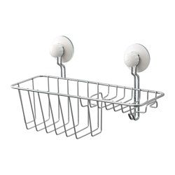 IKEA - IMMELN, Shower/soap basket with hook, Includes suction cups that grip smooth surfaces such as glass, mirrors and tiles.Made of zink-plated steel, which is durable and rust resistant.