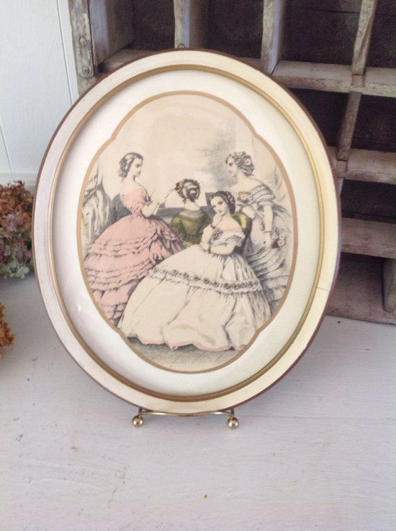 Antique Oval Framed Victorian Print|Antique Hand Lithographed Print|Victorian Bedroom Wall Art|Antique Wall Decor|Le Bon Ton|Oval Frame on Etsy, $35.00