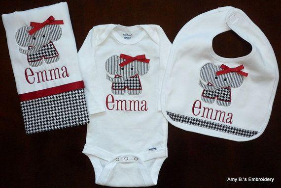 Personalized Elephant Baby Set