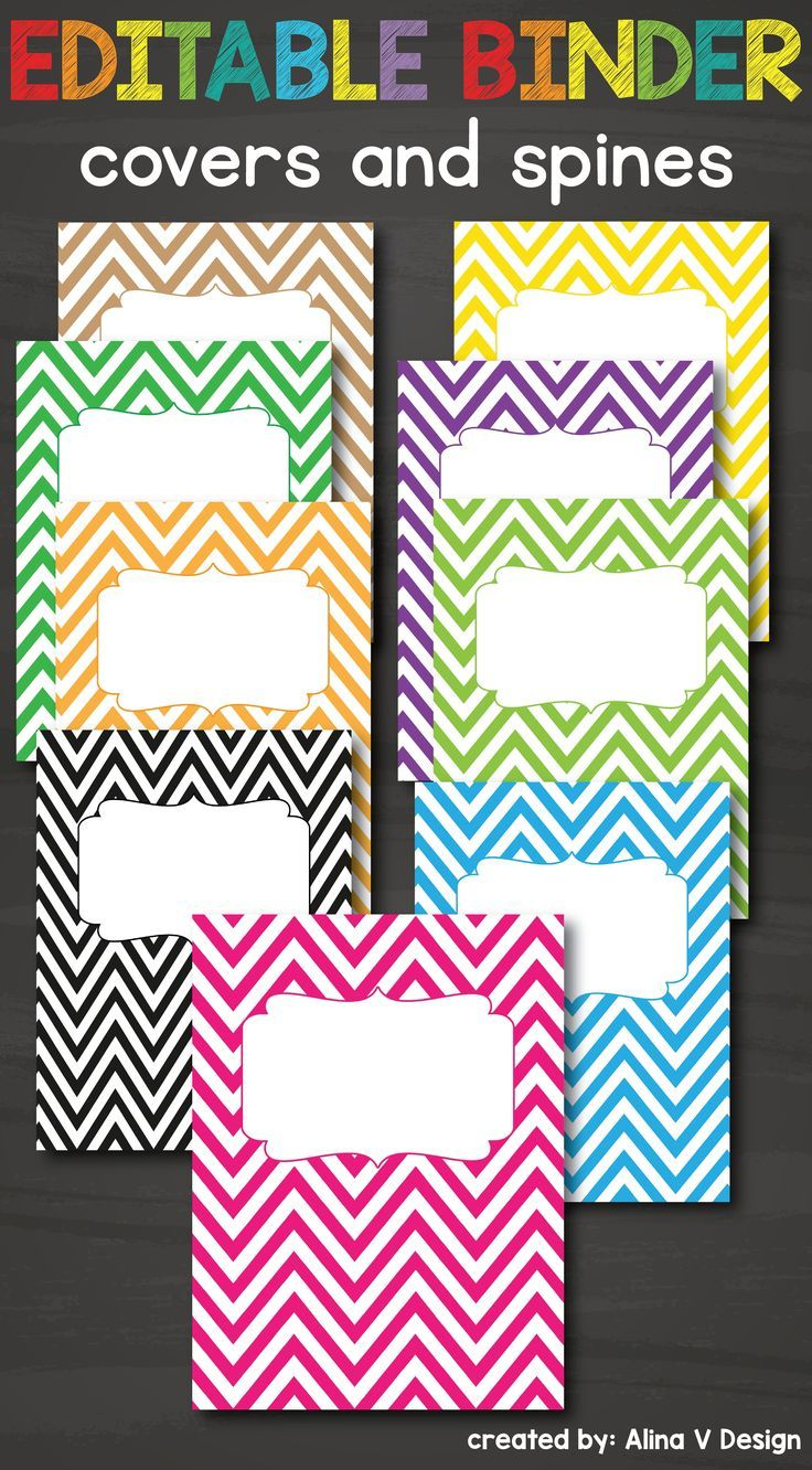 Editable binder covers and spines printable available in pink, red, green and many other colors and chevron pattern. You can use to make your customizable teacher or student planner for school. You can color code your school binder by using a different cover color for each subject.