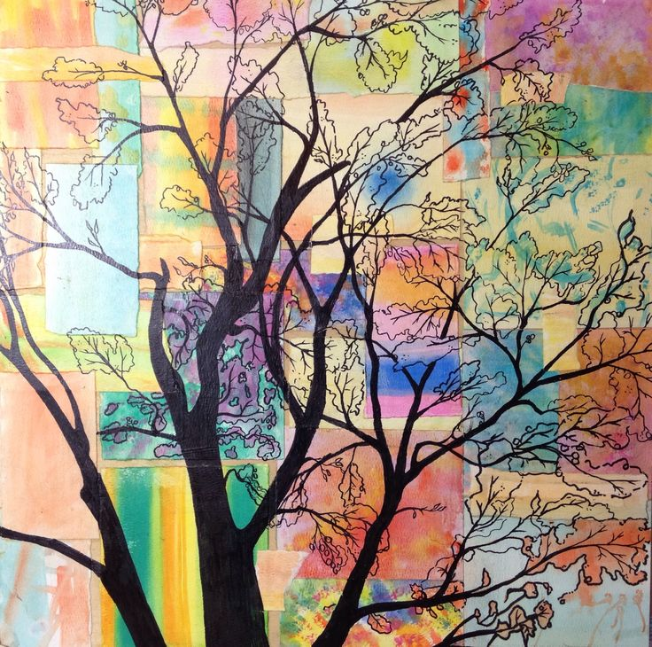 'Tree of Life' Mixed media on wood panel