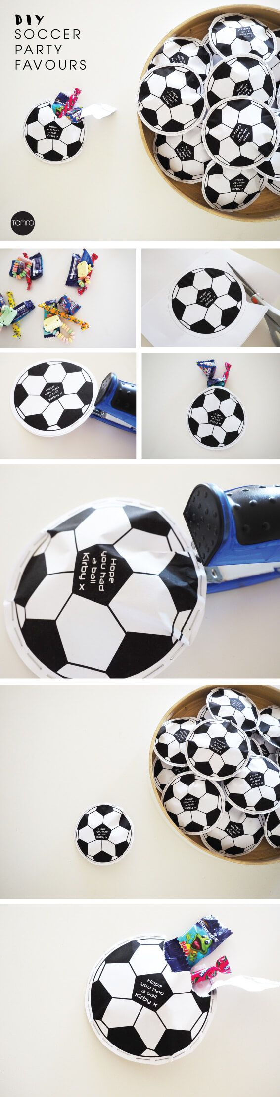 Free printable  Planning a soccer party? Try these DIY Soccer Party Favours, too cute! There's a free printable and other party ideas on this blog too.