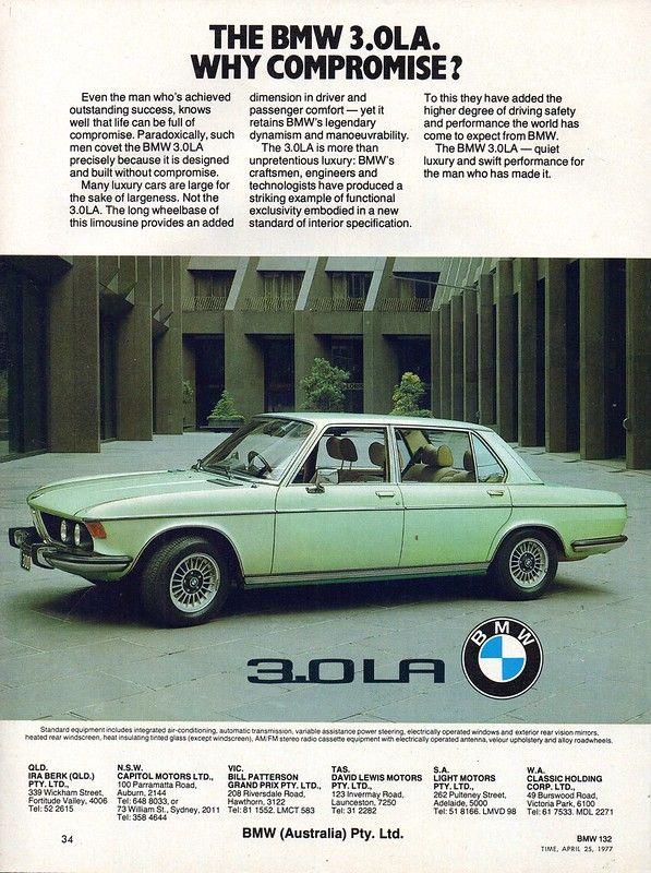 1977 Bmw 3 0 La Sedan Aussie Original Magazine Advertisement Bmw Bmw Vintage Sedan