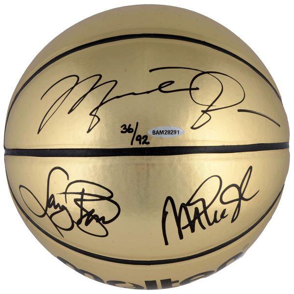 Michael Jordan, Larry Bird, Magic Johnson Autographed Molten Gold Basketball - Upper Deck - $2999.99