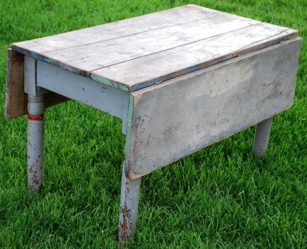 Superb Antique Primitive Farmhouse Drop Leaf Coffee Sofa Table Blue Square Nails  Old Paint Early.