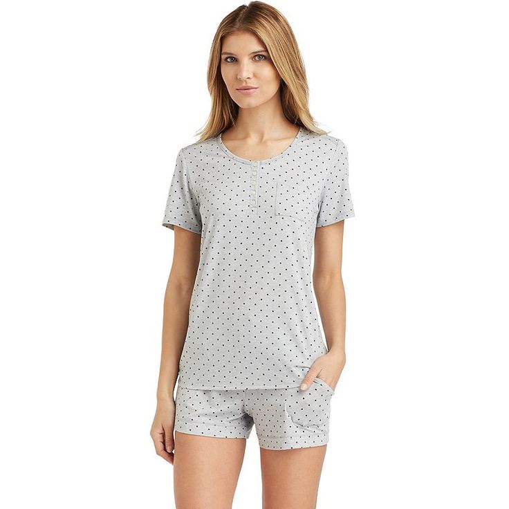 Plus Size Cuddl Duds Pajamas: Henley Tee & Boxers Set, Women's, Size: 2XL, Med Grey