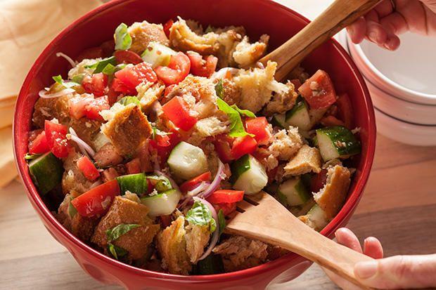 Bread Salad) - lemon, garlic vinaigrette dressing. salad has old bread ...