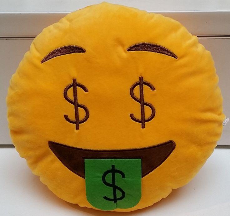Money Face Dollar Eyes Tongue Emoji Pillow (US Seller) by PlushEmojiPillows on Etsy https://www.etsy.com/listing/261157354/money-face-dollar-eyes-tongue-emoji