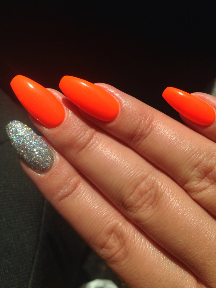Bright Neon Holiday Nails Coffin Neon Glitter Orange Nails Colorclub Orange Acrylic