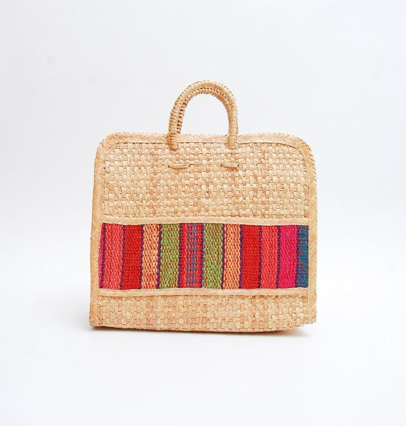 70s Bag - Oversized Straw Guatemalan Blanket Striped Woven Beach Bag - 1970s Ethnic Basket Woven Tote