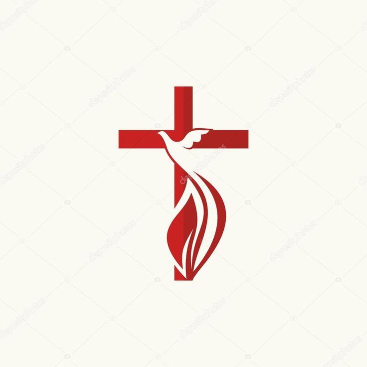 Logotipo de la iglesia. Cruz y la paloma, símbolo del Espíritu Santo — Ilustración de stock #89943496