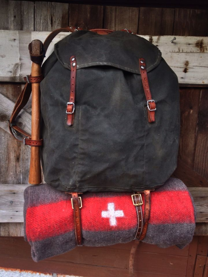 Vintage Swedish Army Canvas & Leather rucksack, reconditioned.
