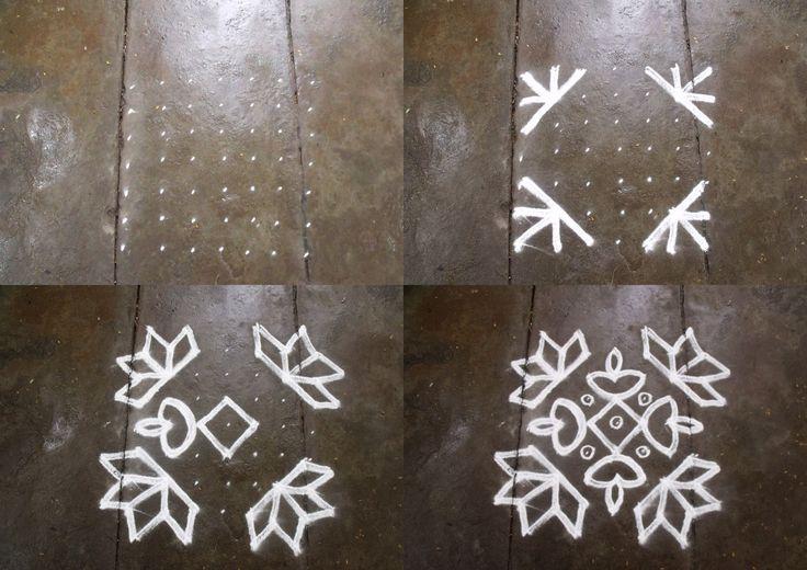 Rangoli designs/Kolam: S.No. 76 :- 6 pulli 6 varisai nerpulli kolam