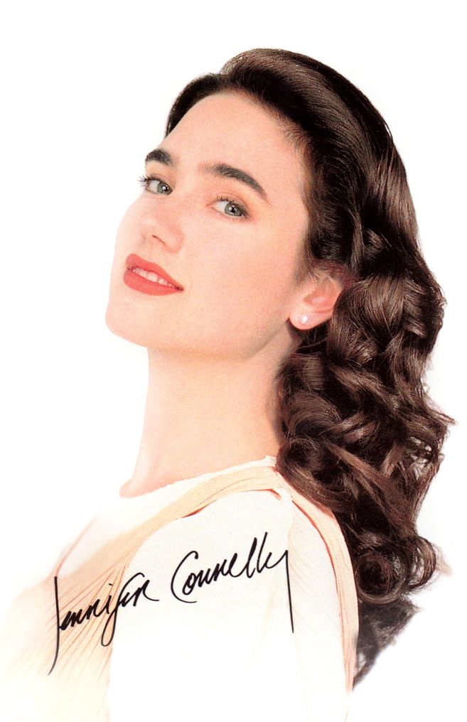 Jennifer Connelly posing in a print ad for Lux shampoo in the late 1980s.