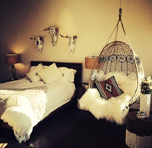 """""""Hipster"""" bedroom. I absolutely love the hanging chair. Where can I get one like that? Pick a movie, add some decor, you have yourself a Disney boho bedroom :)"""