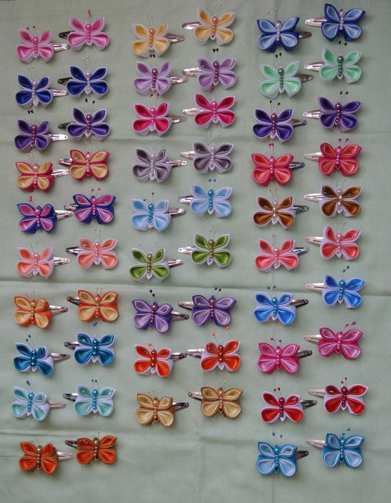 Pair of Handmade Butterfly hair clips made in by BeautifulRibbon