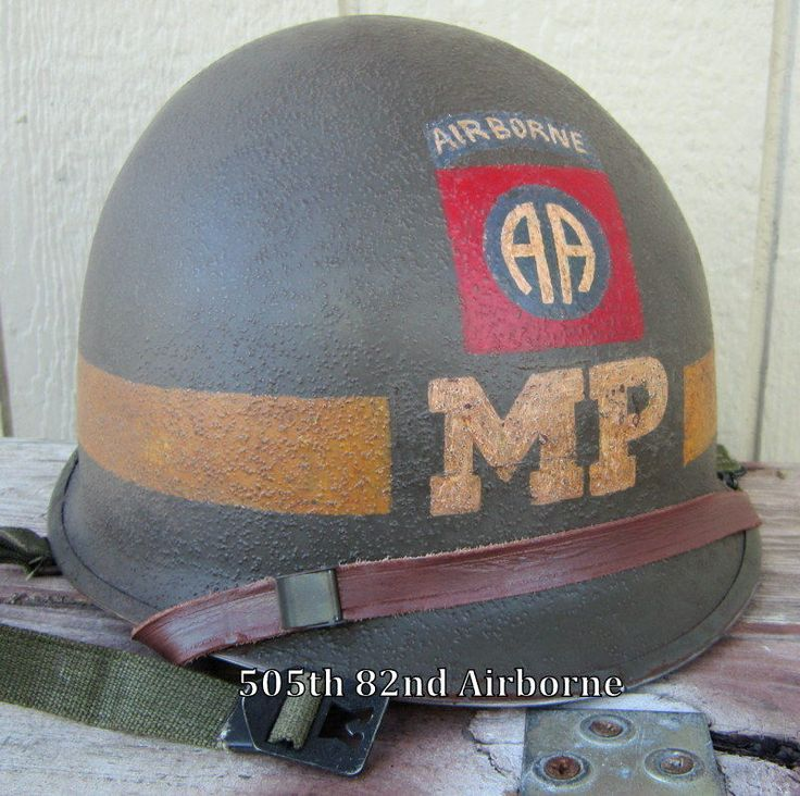 WWII M-1 82nd MP Helmet  Seaman Paper Co. Liner Front Seam